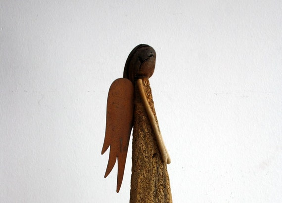 """driftwood sculpture """" Angel"""" ...made from natural driftwood with rusty metal-wings...guardian angel sculpture...37 cm"""