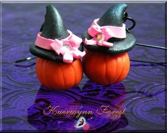 Halloween earrings, Pumpkin earrings, Witch Hat Earring, Halloween Jewelry, pumpkin jewelry, Pink Ribbon, Kawaii, Halloween Pumpkins, orange