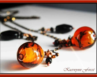 Summer Tropical Necklace - Glass Lampwork beaded necklace - Orange, black, and bronze