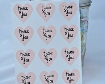 24 Thank You Heart Seals / Stickers -You Pick Color (kraft, red, pastel pink, white)