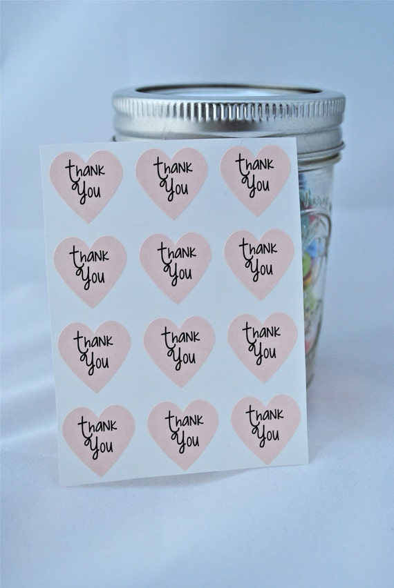 108 Thank You Heart Seals / Stickers -You Pick Color (kraft, red, pastel pink, white)