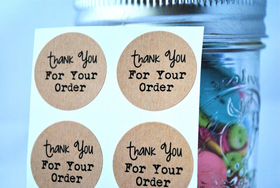 """60 """"Thanks for your order"""" kraft round labels/seals"""