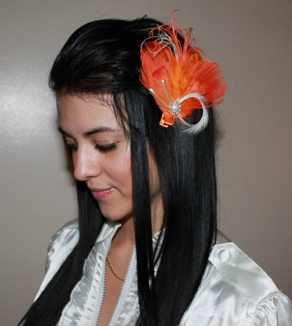 Orange Ivory Boutique Peacock Feather Hair Clip Photo prop