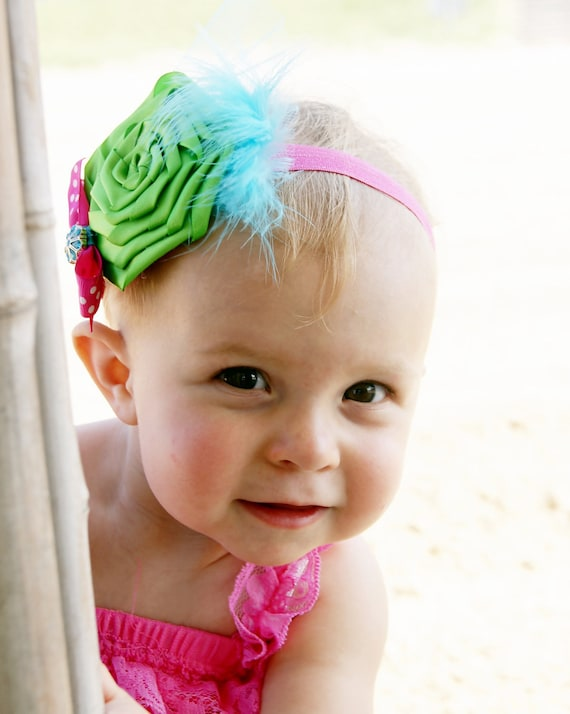 Lime Green Boutique Flower Rose Bow with Turquoise BlueTulle and Feathers on Hot Pink Elastic Headband Photo Prop