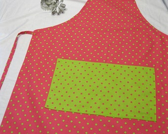 Pink 'n Neon Green Polka Dots Adult Apron