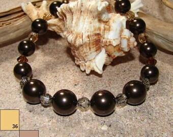 Chocolate Dreams - Pearl & Swarovski Crystal Bracelet