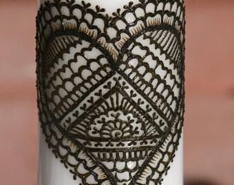 Henna Heart Love White Pillar Candle