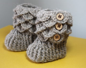 0-6 months, Alpaca Crochet Baby Booties, Made to Order, Premium Alpaca rose grey yarn, quality wood buttons, Heirloom