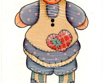 """Button Babies """"Ruth"""" Rag Doll Iron On Transfer"""