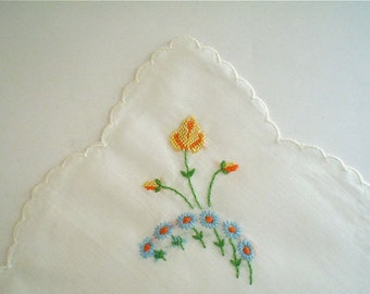 Hankie with Yellow Rose and Blue Embroidered Flowers Scalloped Vintage Handkerchief