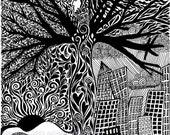 Balance- black and white drawing 8 x 10 print