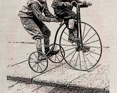 Clip Art Designs Transfer Digital File Vintage Download DIY Scrapbook Shabby Chic Pillow Black Tricycle Bike Boys Paris Labelg No. 0322