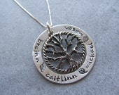 Hand Stamped Family Tree Necklace: Large Family Tree Personalized Necklace 4 or 5 NAMES  Sterling Silver