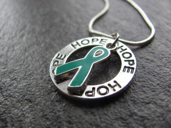 Green Ribbon Crystal Awareness Necklace // Cerebral Palsy, Tissue/Organ/Stem Cell/Bone Marrow Donation, Kidney Disease, Adrenal Cancer