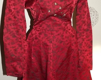 Vintage Red Brocade 1950's Dress