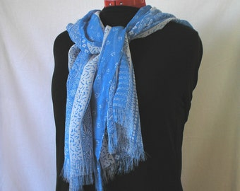 Chiffon Scarf, French Blue and White