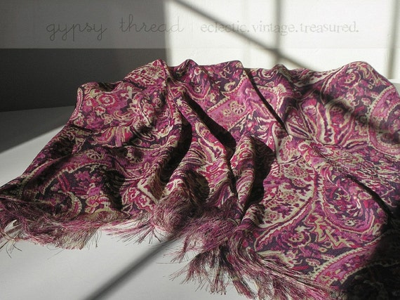 Purple Paisley Chiffon Shawl or Wrap