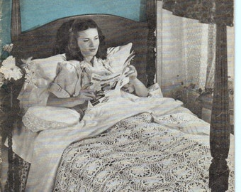 Vintage 1940s Star Bedspreads Crochet Magazine by American Thread Co.