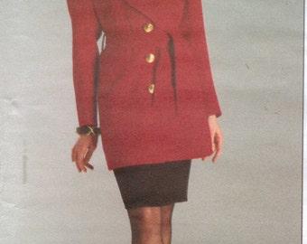 90s Yves Saint Laurent Womens Jacket, Belt & Skirt Vogue Paris Original Sewing Pattern 1209 Size 12 14 16 Bust 34 36 38  UnCut