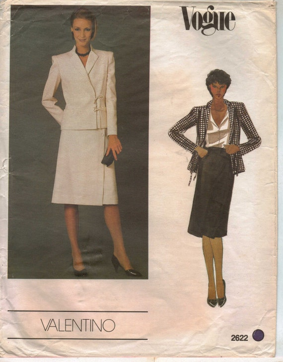 80s Vogue Designer Original Pattern 2622 Valentino Womens Jacket and Skirt Size 14 Bust 36 UnCut