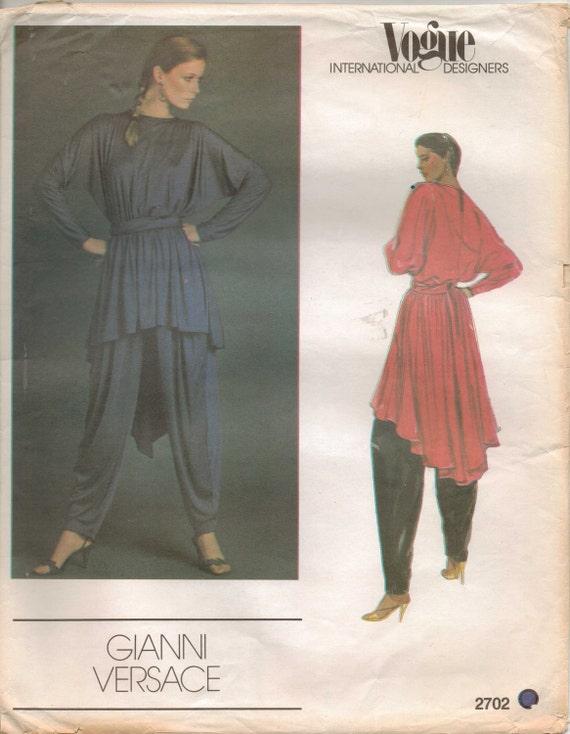 80s Vogue International Designers Pattern 2702 Gianni Versace Womens Tunic, Sash and Pants Size 12 Bust 34