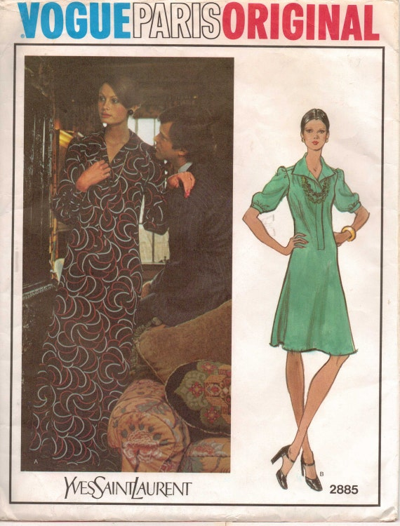 70s Vogue Paris Original Pattern 2885 Yves Saint Laurent Womens Dress Size 12 Bust 34 UnCut