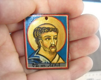 Miniature icon of Saint Luke- St Luke Pendant - Patron of Doctors, Artists and Bachelors - catholic charm- Religious Pendant- christian icon