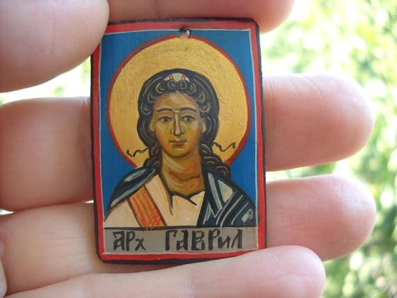 Miniature icon Saint Gabriel the Archangel, Catholic saint, Angel of the Lord, Spirit of Truth, Angel of Revelation, Trust, Annunciation