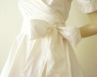 Custom Made  MARIA SEVERYNA Wedding  Dress 50's style in White Silk Taffeta Dupioni Mother of the Bride Dress - available in many colors