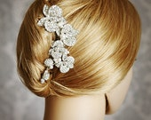 LORRAINE, Vintage Inspired Wedding Hair Comb, Blooming Orchids Bridal Hair Comb, Pearl and Rhinestone Wedding Hair Accessories, Bridal Comb