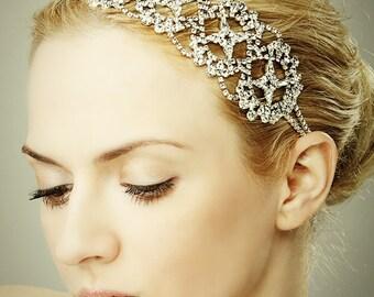 Bridal Crystal Headband, Vintage Style SWAROVSKI Crystal Wedding Headband, Victorian Wedding Hair Accessories, Art Deco Hairband (ALEXANDRA)