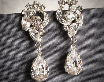 VALORA, Swarovski Crystal Bridal Earrings, Bridal Earrings, Vintage Style Wedding Dangle Earrings, Art Deco Bridal Earrings, Wedding Jewelry
