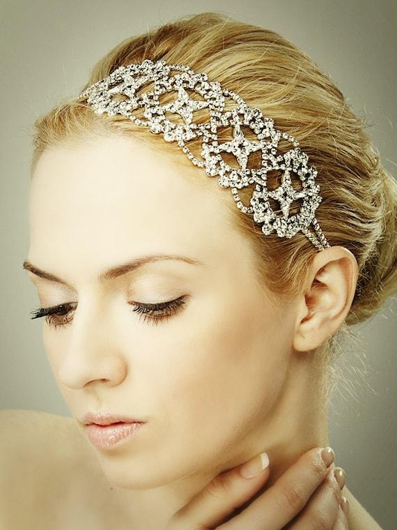 Swarovski bridal headband : Bridal crystal headband vintage style swarovski