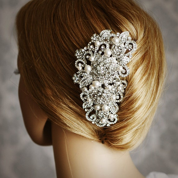 ANGELIQUE, Victorian Pearl and Rhinestone Bridal Hair Comb, Vintage Style Wedding Hair Accessories, Crystal Flower Wedding Bridal Hair Comb