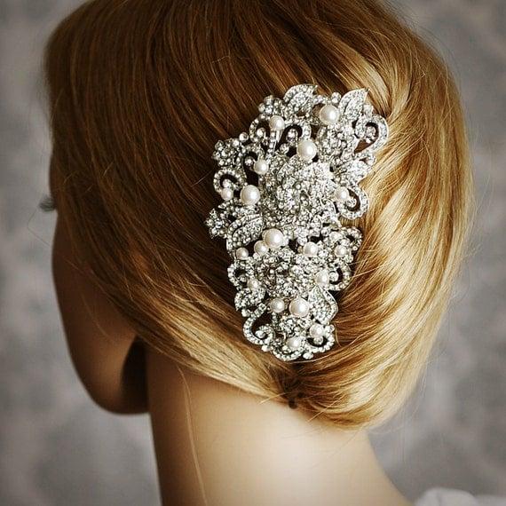 Victorian Bridal Hair Comb, Vintage Style Swarovski Pearl Cluster Wedding Hair Accessories, Crystal Flower Leaf Wedding Hair Comb, ANGELIQUE