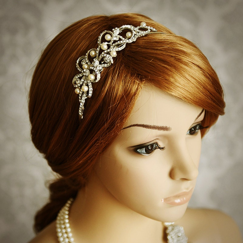 Wedding Vintage Style Hair Accessories: TEGAN Vintage Inspired Bridal Headband Art Deco By