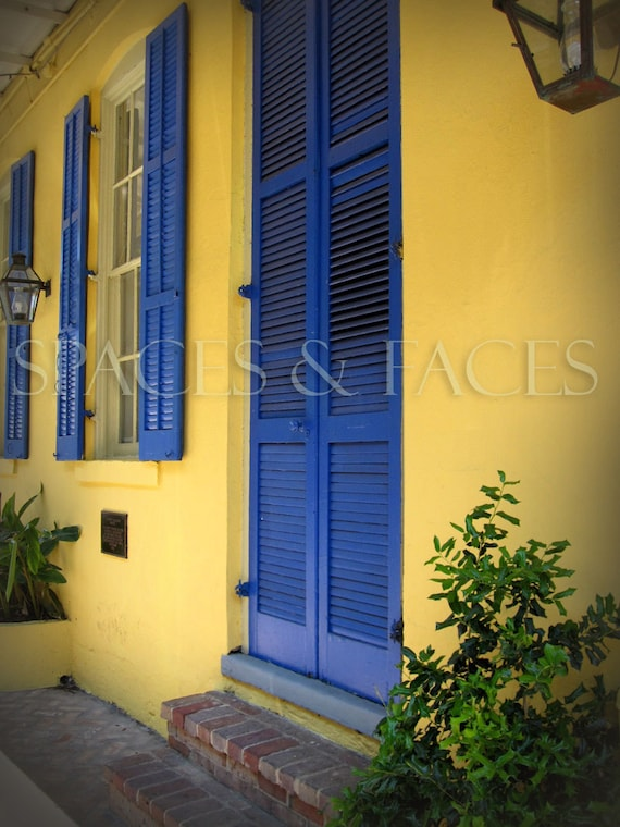 Items similar to bright blue shutters french quarter 16 - Bright paint colors for exterior house ...