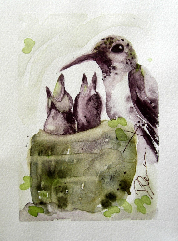 Baby Hummingbirds with Mother Nursery Art
