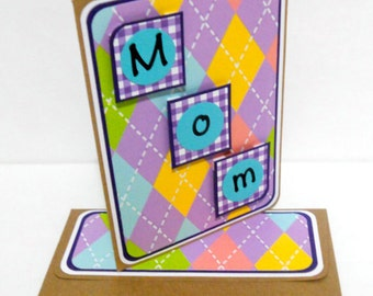 CLEARANCE- Mother's Day Argyle Card with Matching Embellished Envelope