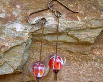 Earrings red orange lampwork glass beaded jewelry unique earrings nature inspired jewelry brass paddle headpins Bright Spot