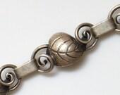 RESERVED md Sterling Denmark Bracelet HERMANN SIERSBOL with Leaf and Vine Link Design Signed