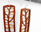 Amber Organic Wood Tree Earrings