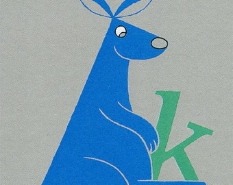 Kangaroo Alphabet Print, Nursery Art in Blue