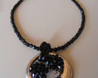 Vintage  Pendant Necklace  Black Glass Beads Silver Black Drop Upcycle/  Re-Purposed Vintage