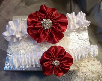 Wedding Garter Set in Apple Red with a white Satin band