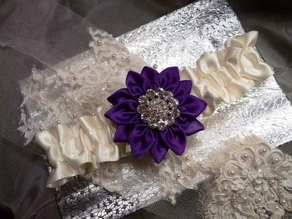 Bridal Garter, Prom Garter, Purple Satin Daisy and Ivory Garter with Rhinestone Center, Wedding Garter