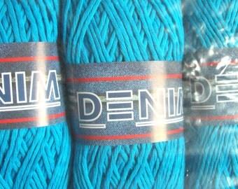 Cotton Yarn Hypoallergenic baby-friendly soft yarn. Yarn Denim in blue.
