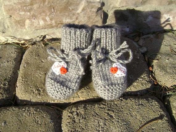 grey LOVE baby booties