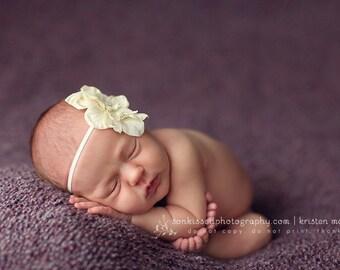 Delphinium Off White Creamy White Skinny Baby Headband. Pearl Flower headband Baby girl headbands. Photography prop
