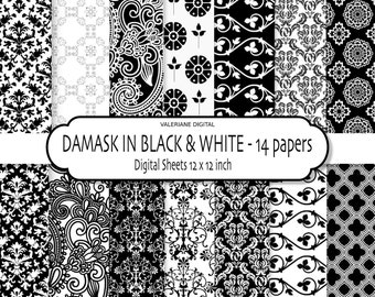 Black & White Digital paper, Black and white Digital Scrapbook Paper or Website background - 14 jpg files 12x12 - INSTANT DOWNLOAD Pack 137